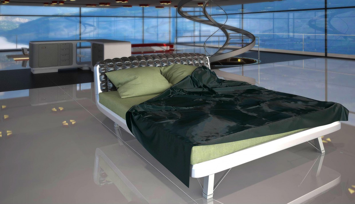 Bed in the Interior in 3d max vray image