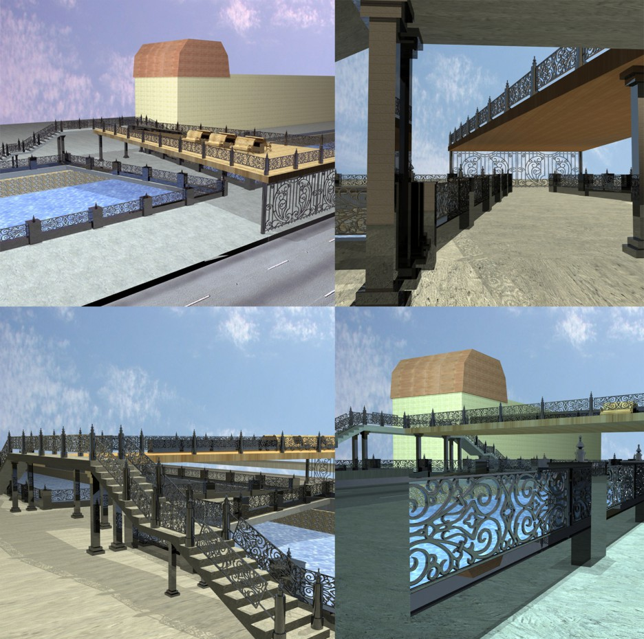 Pedestrian bridge project in 3d max vray image