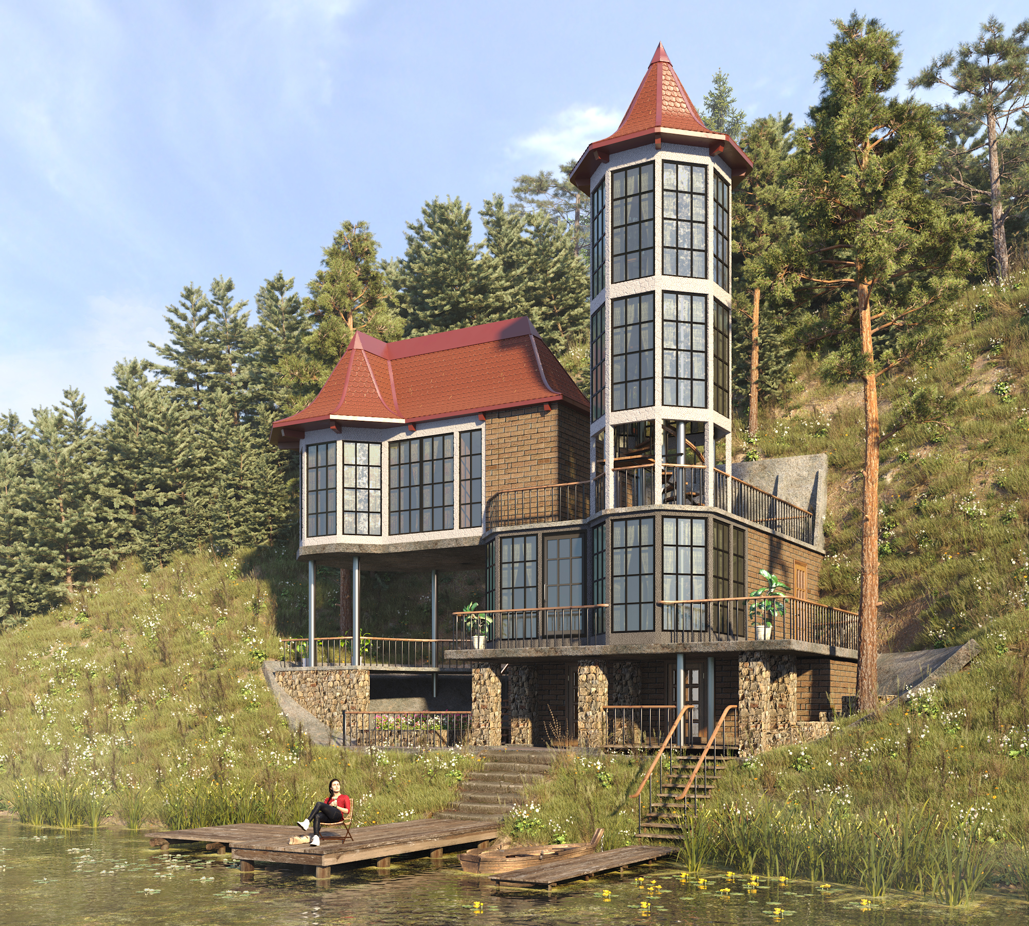Cottage by the river in 3d max corona render image