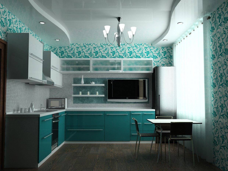 Интерьер кухни-гостиной в 3d max vray изображение