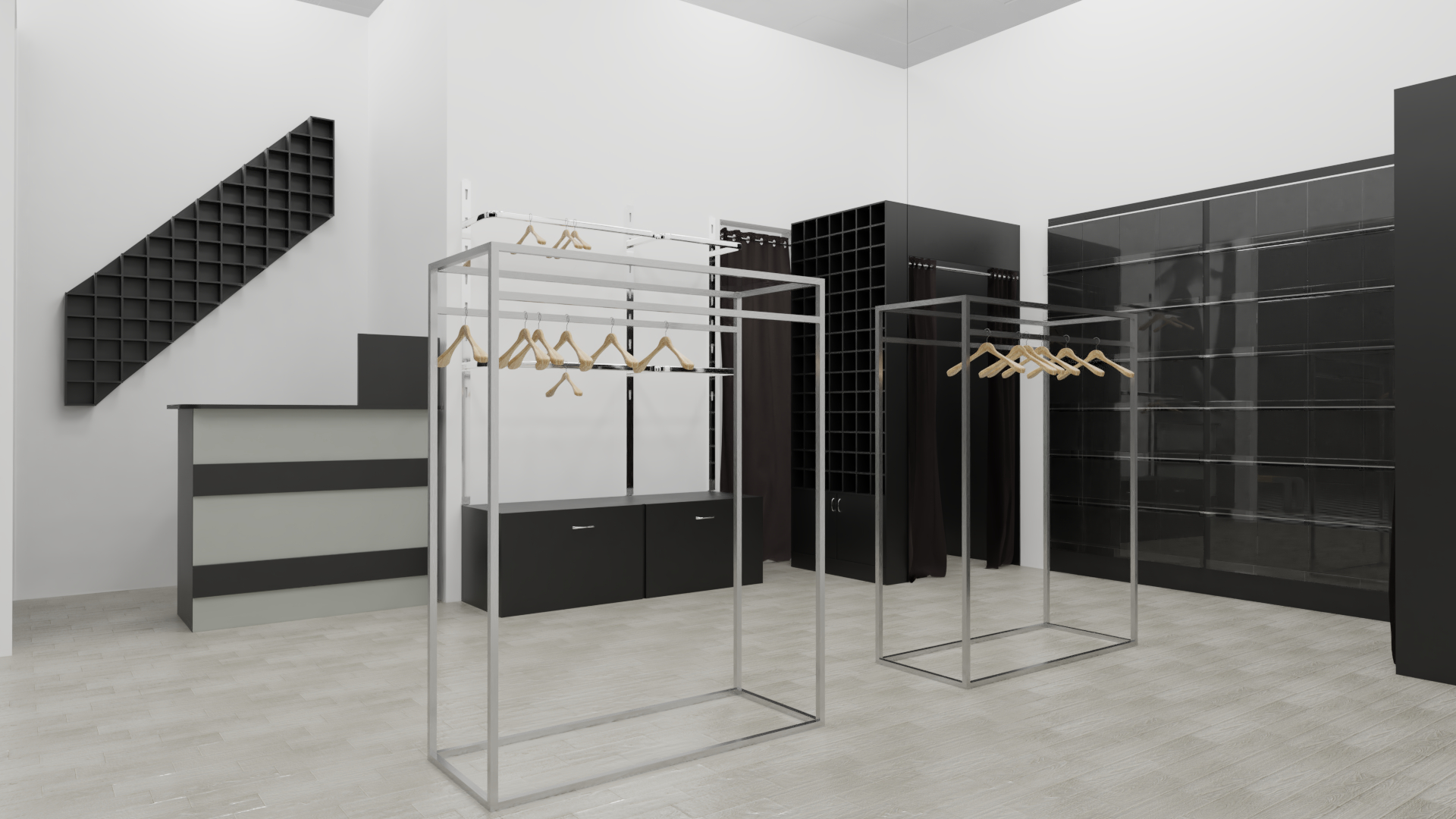 Men's clothing store in the shopping center. in Blender cycles render image