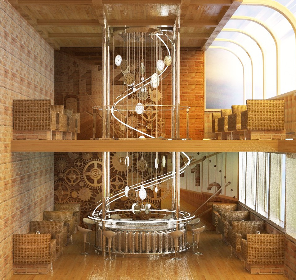 Two floor cafe in 3d max vray image