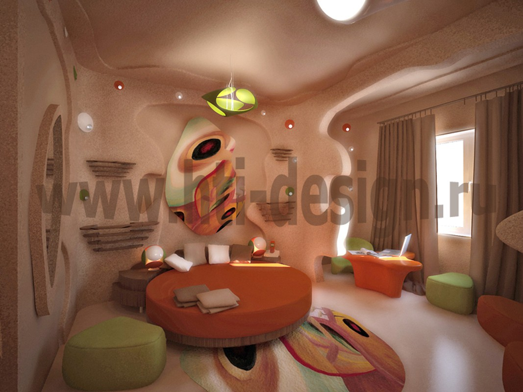 Hotel room in the style of bionics in 3d max vray image