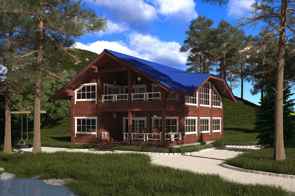 2-storey cottage from profiled beam. in 3d max vray 3.0 image