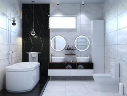 Design del bagno in due versioni