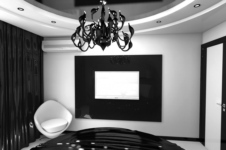 Чорно-біла спальня в Інше Other зображення