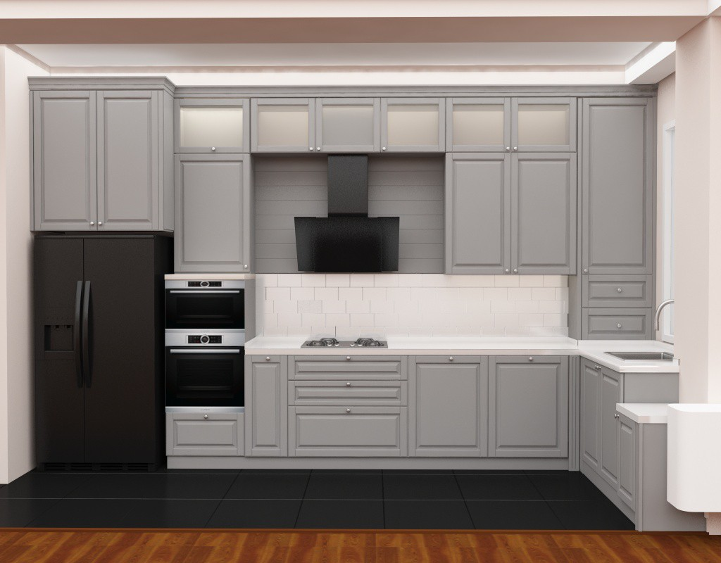 3d design kitchen 3d visualization two same wall in style deco 1083