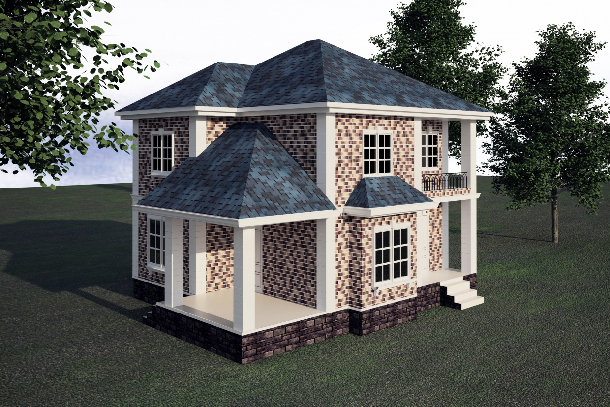Two-storey house in 3d max vray 3.0 image