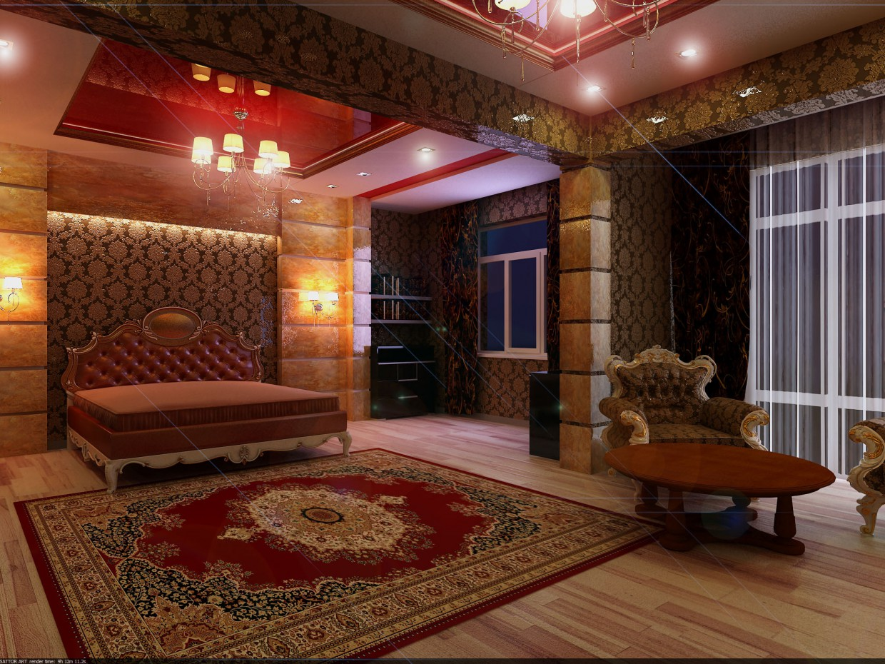 3d visualization of the project in the bedroom 3d max, render vray of SATTOR