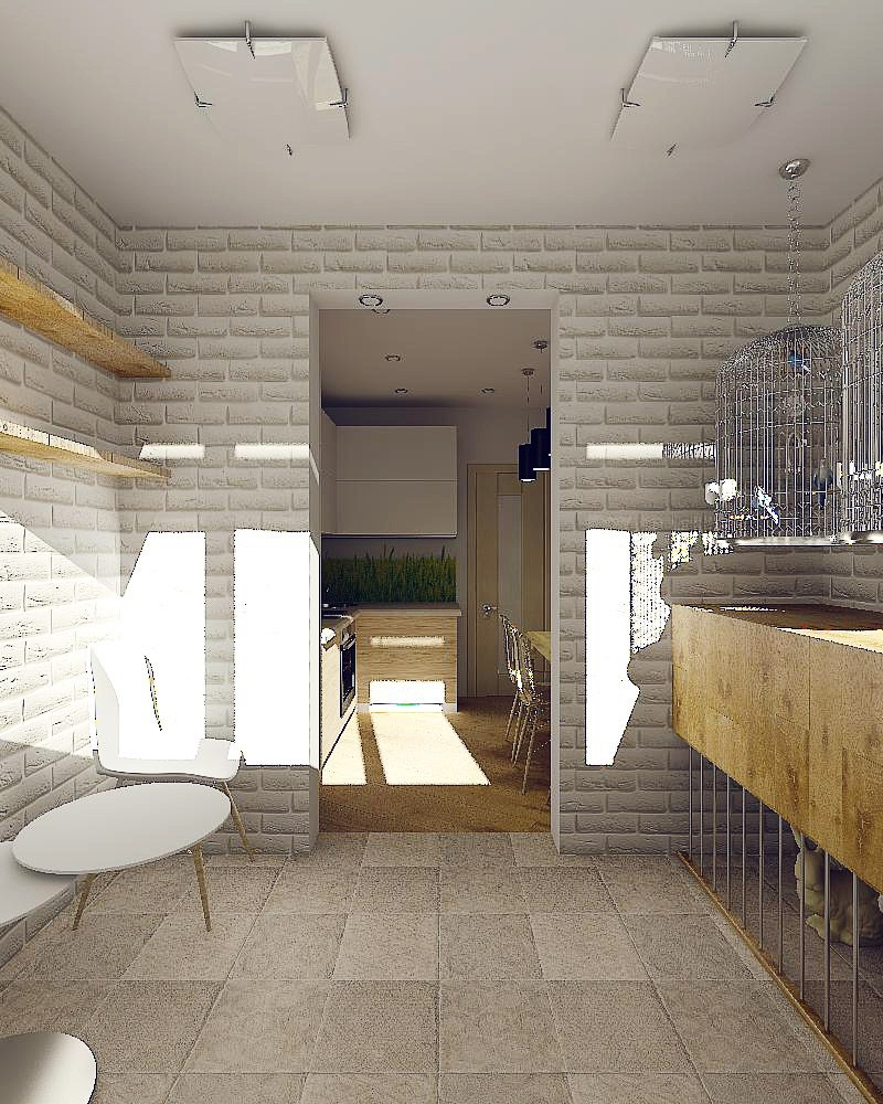 3d visualization of the project in the loft in a small apartment 3d max, render vray of Ли Стюша