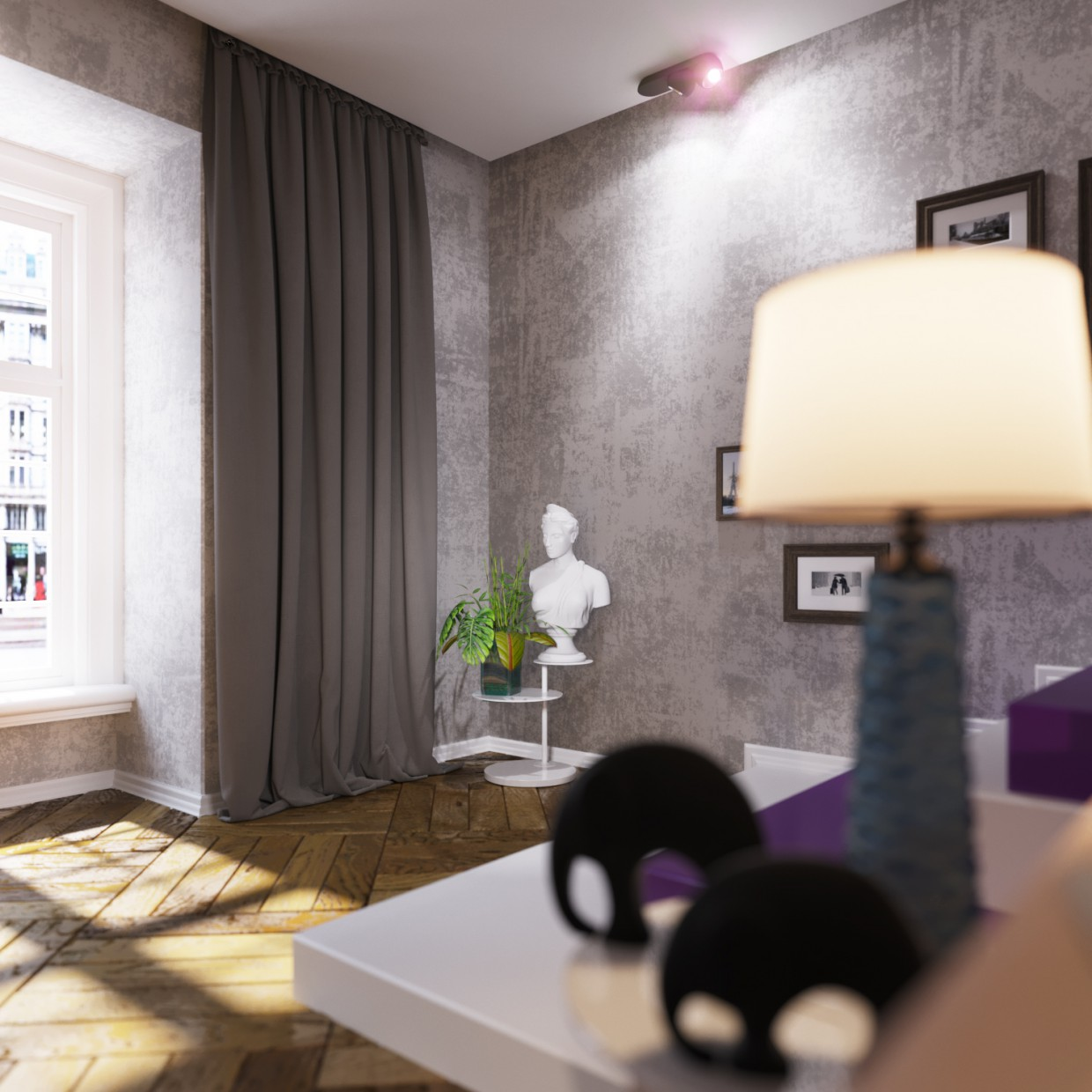 3d visualization of the project in the apartment Studio 3d max, render corona render of igorkoop