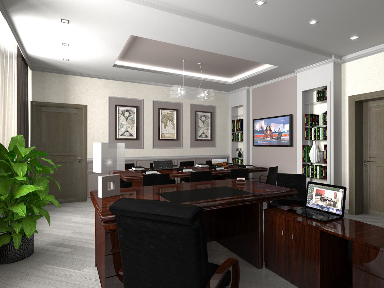 3d visualization of the project in the Director's Office 3d max, render vray of Полина Ходина