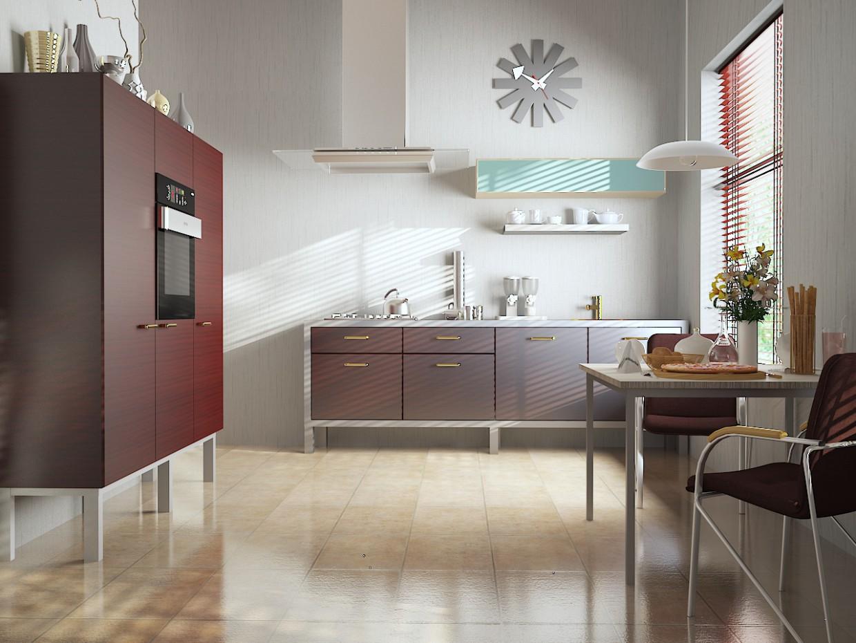 Современный интерьер кухни в 3d max vray изображение