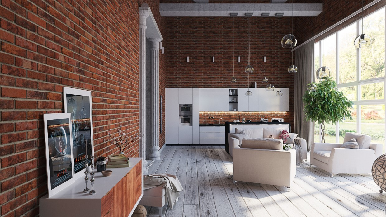 Visualizing the LOFT style apartments in 3d max corona render image