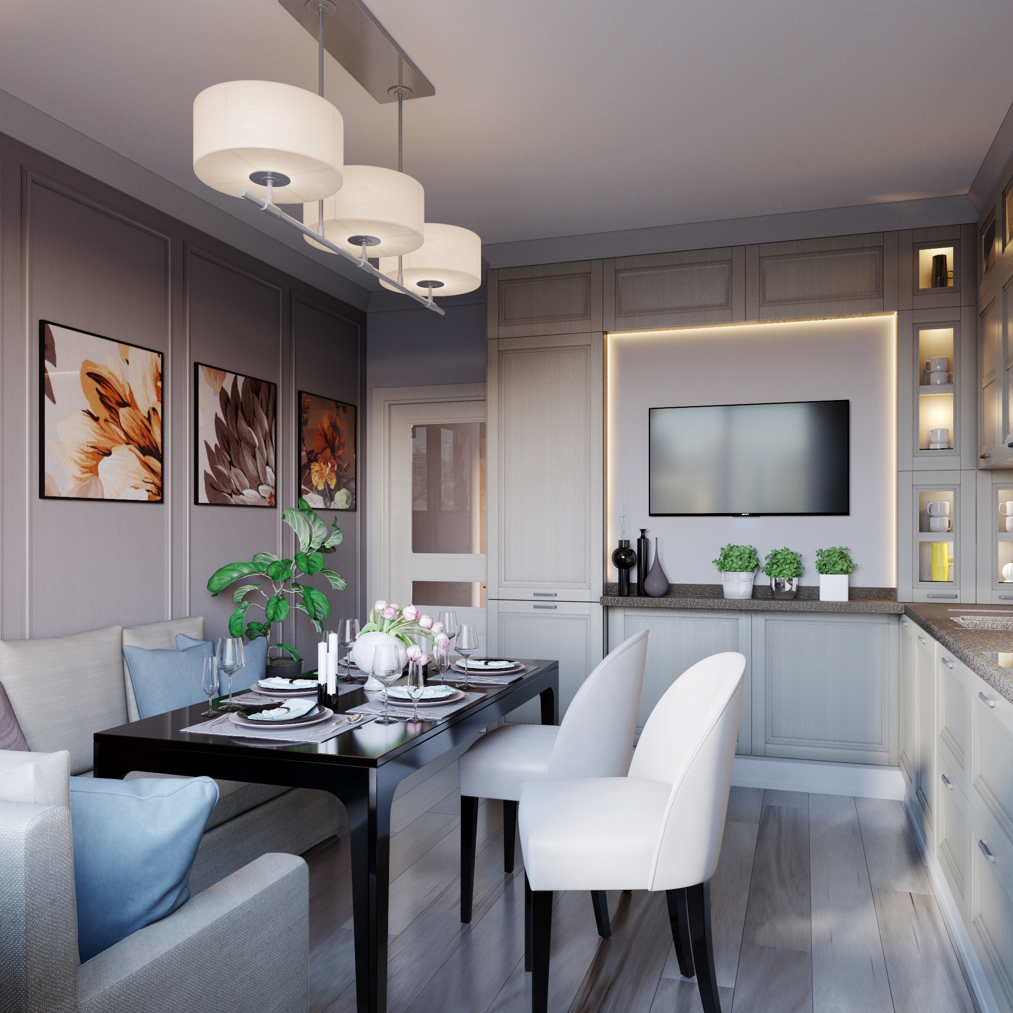 Kitchen with comfort in 3d max corona render image