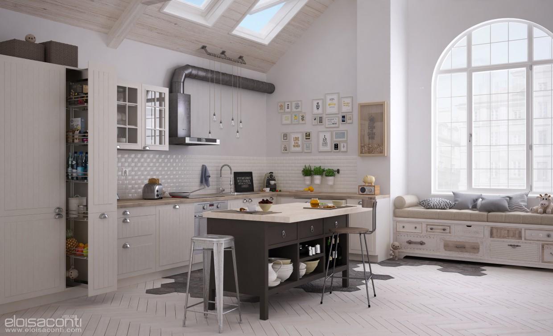 imagen de Cocina de IKEA: desayuno en Cinema 4d vray