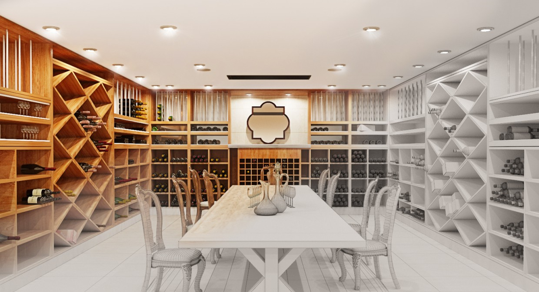 Wine room/wine room, cellar in 3d max corona render image
