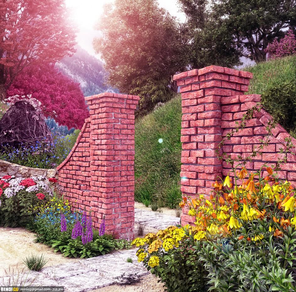 Garden in 3d max corona render image