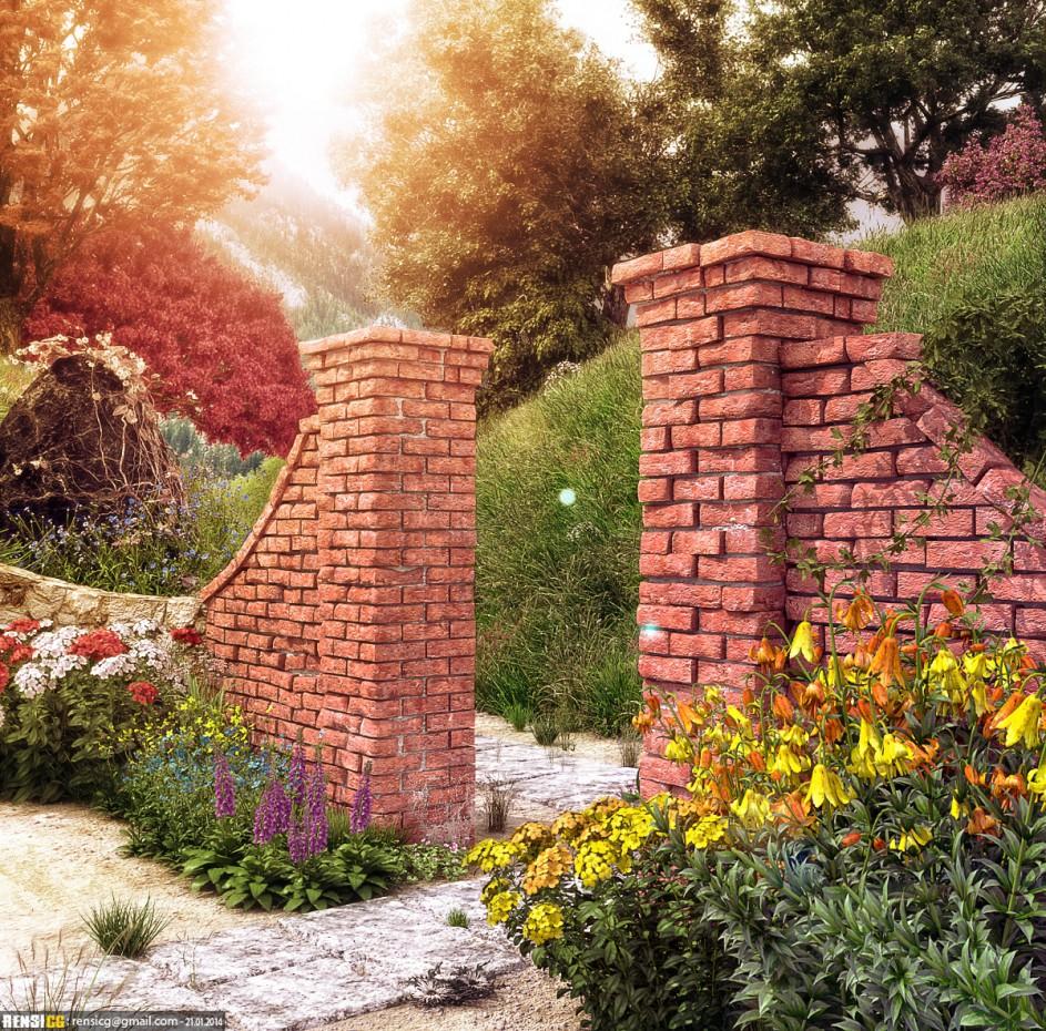 Сад в 3d max corona render изображение