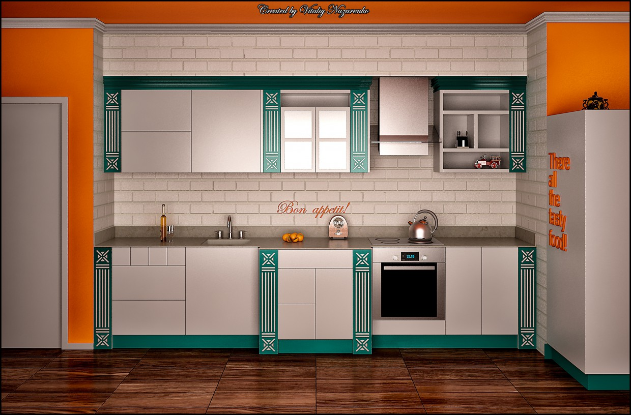 3d visualization of the project in the Kitchen Modern minimalist classic 3d max, render vray of NewStyle