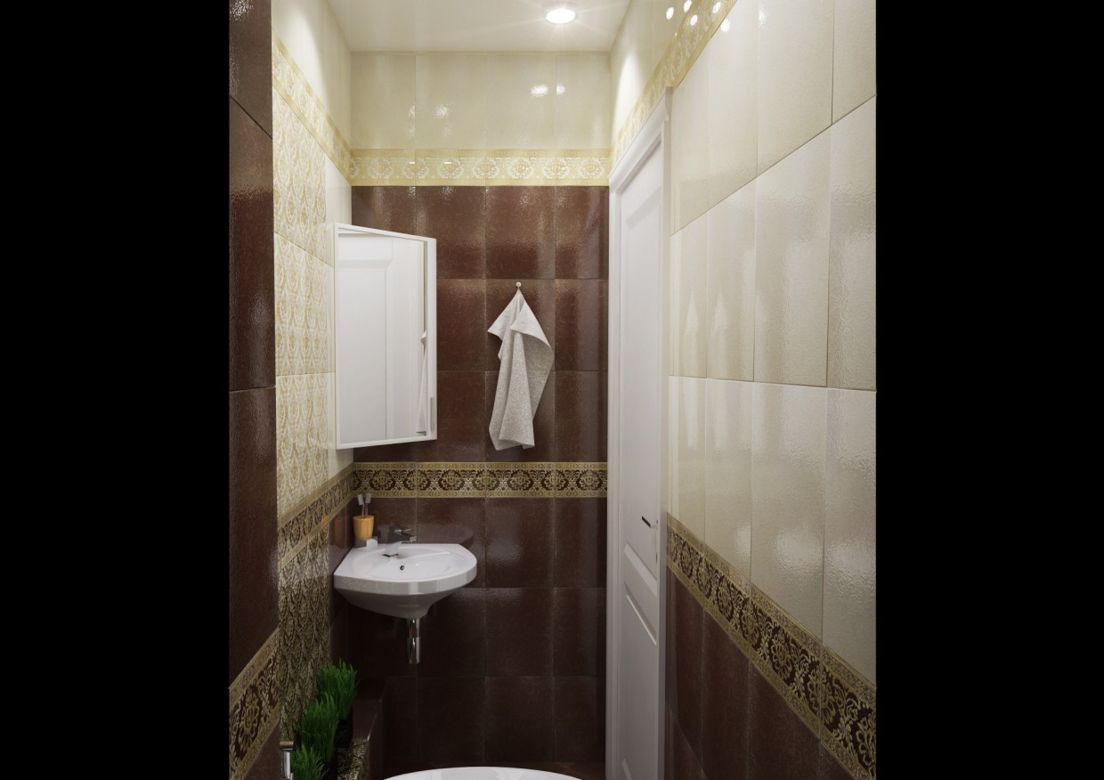 3d visualization of the project in the A Bathroom 3d max, render vray of winter