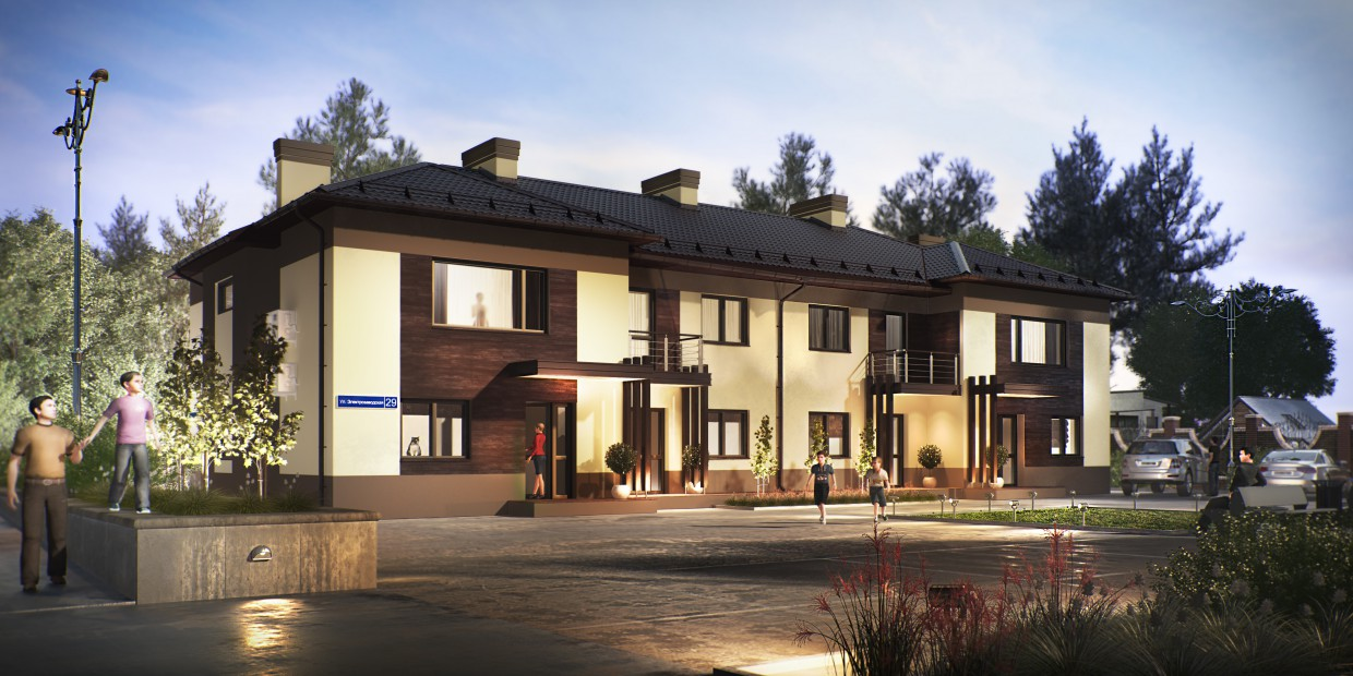 3d visualization of the project in the Frontage style 3d max, render vray of romanius