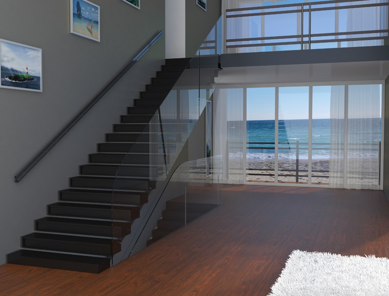 A view of stairs in 3d max vray image