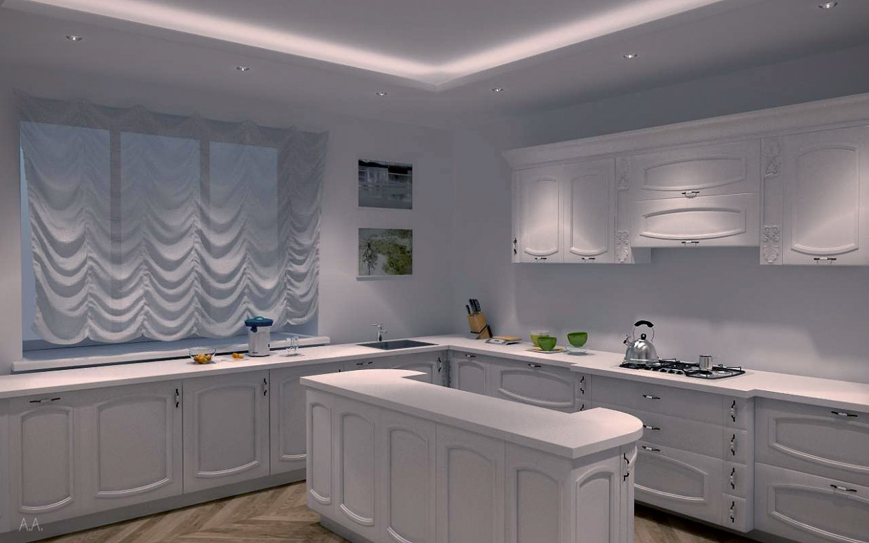White kitchen in 3d max vray image