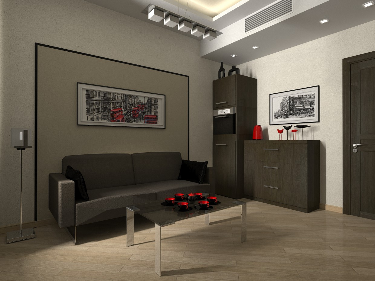 Recreation room in the office of a director in 3d max vray image