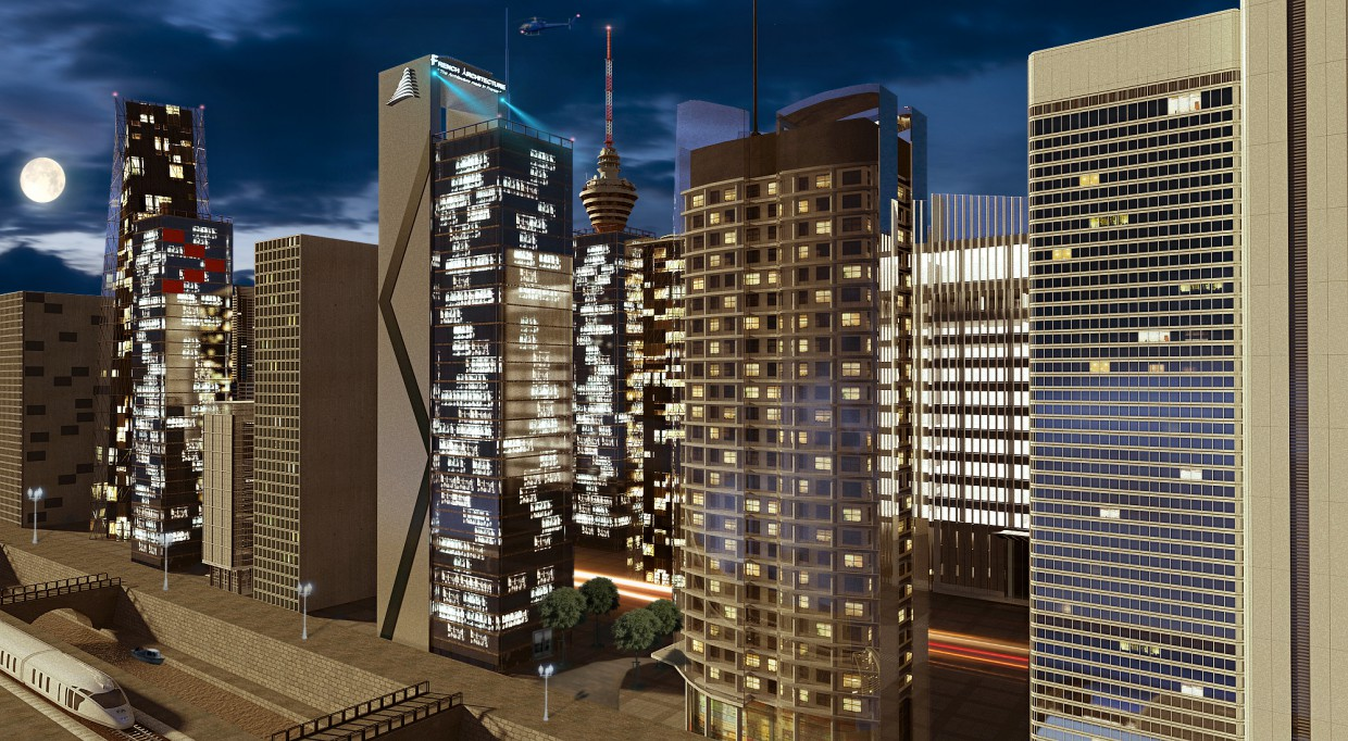 city in 3d max mental ray image