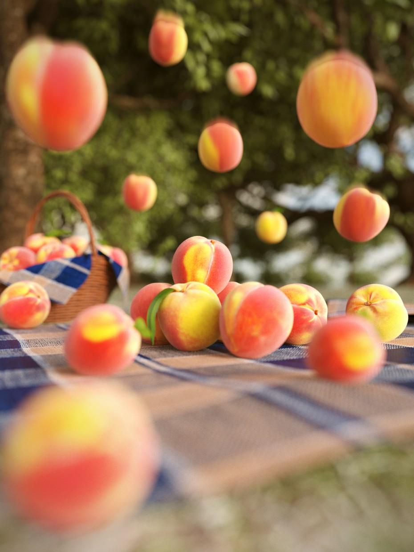 Fruit rain in 3d max corona render image