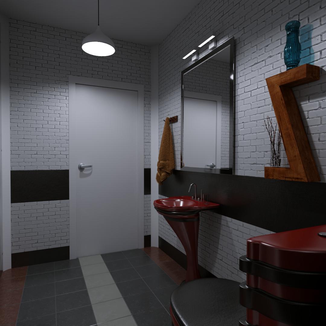 restroom in Blender cycles render image