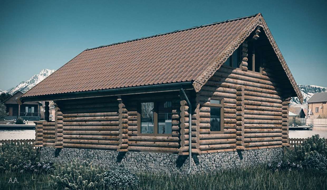 House of log (Norse variant) in 3d max vray image