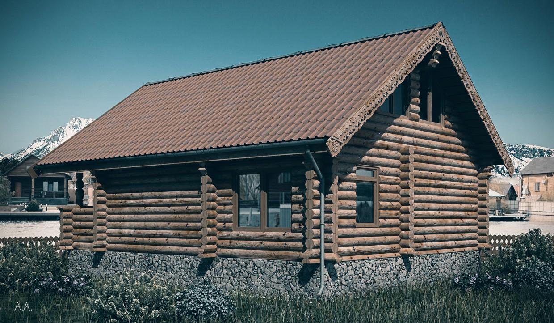 Дом из сруба (вариант нордический) в 3d max vray изображение