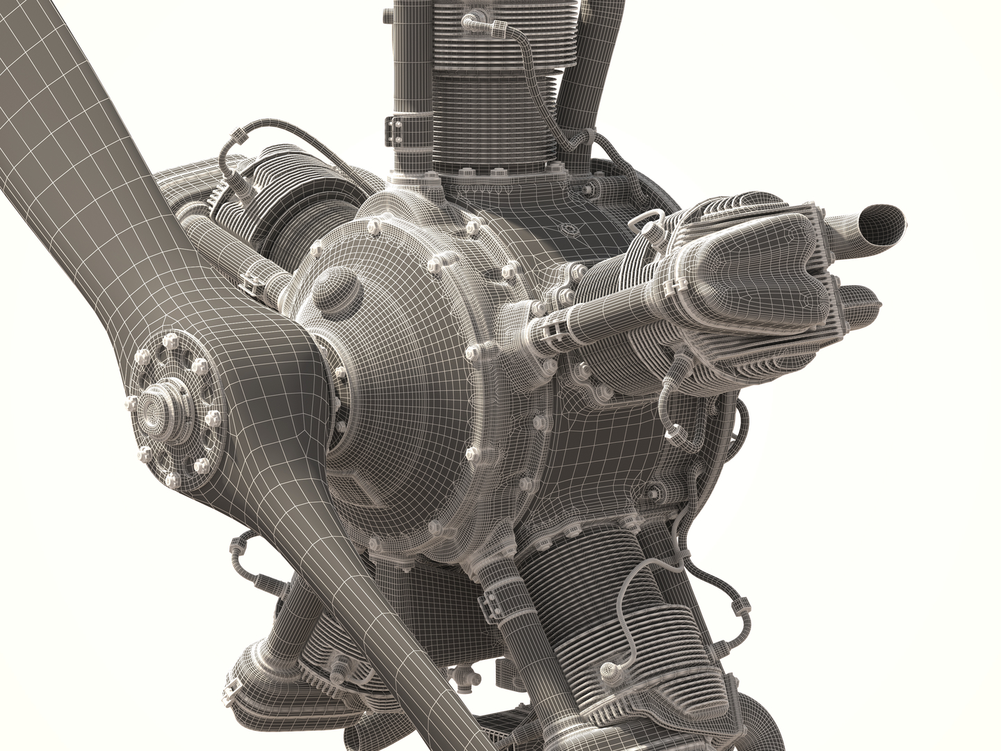 Aircraft engine M-11 3D model in 3d max vray 2.5 image