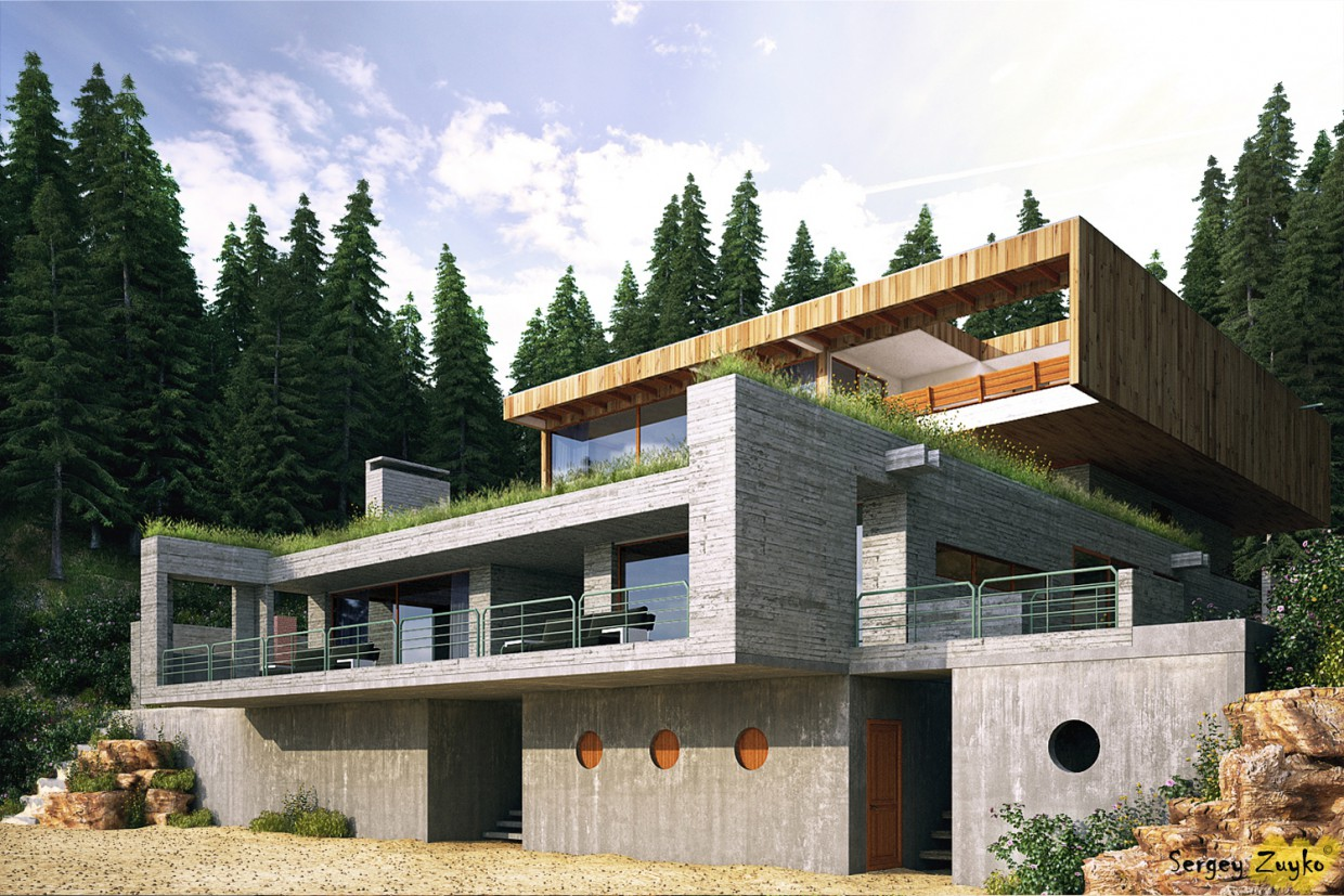House in a forest in 3d max vray image