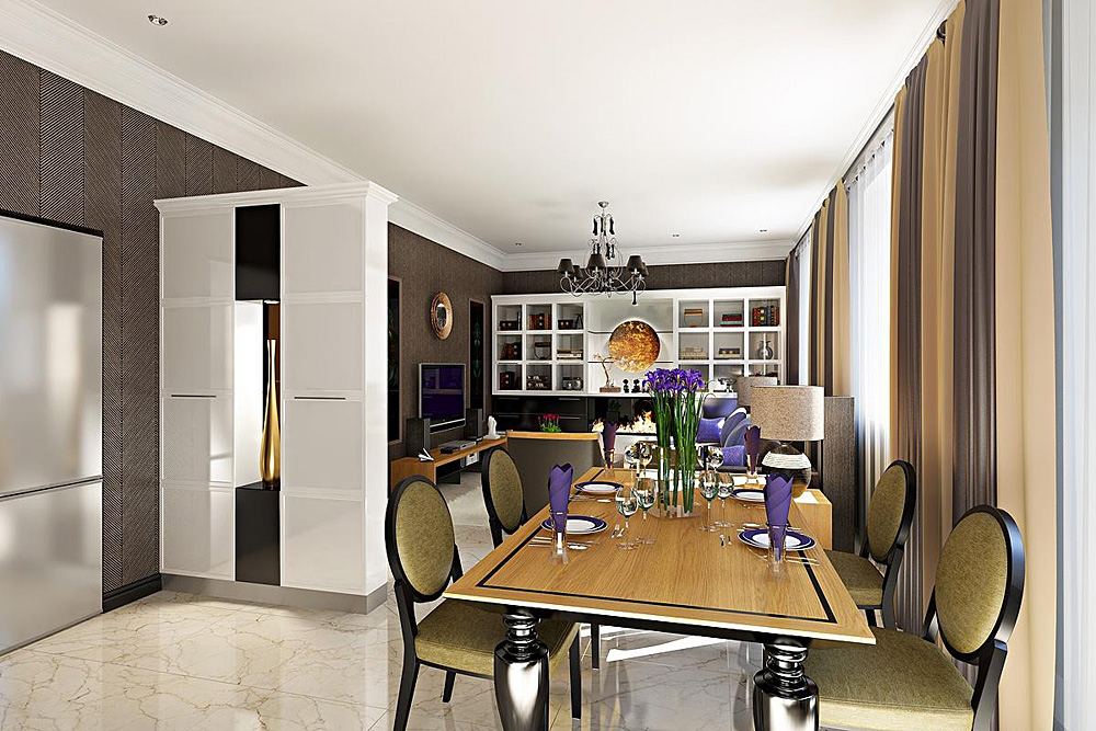 LIVING ROOM&KITCHEN in Blender cycles render image
