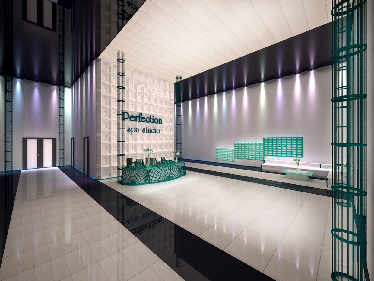 Spa Center Hall in 3d max vray image
