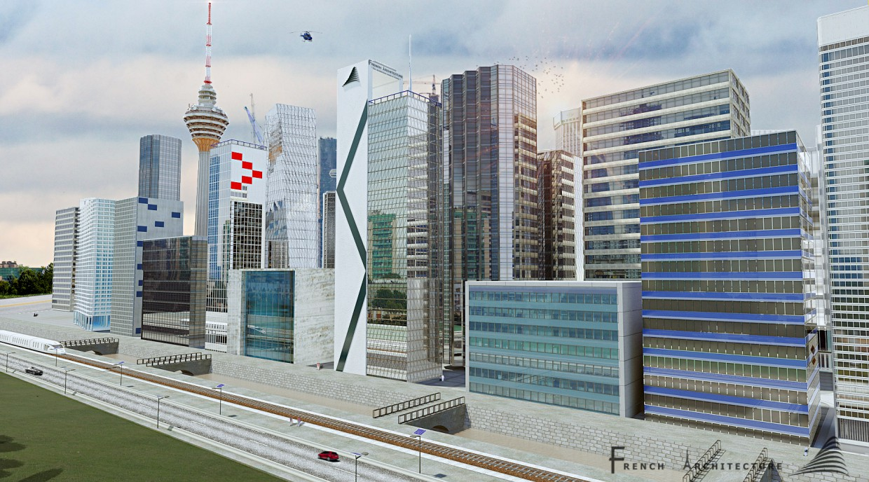 3d visualization of the project in the cityy 3d max, render mental ray of bilal mezzari