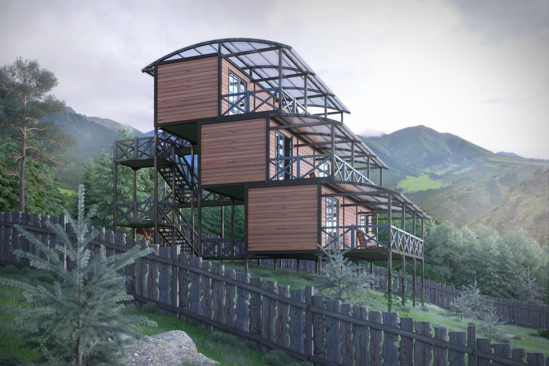 Хостел в горах в 3d max corona render зображення