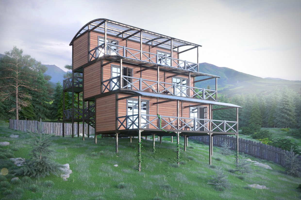 Hostel in the mountains in 3d max corona render image
