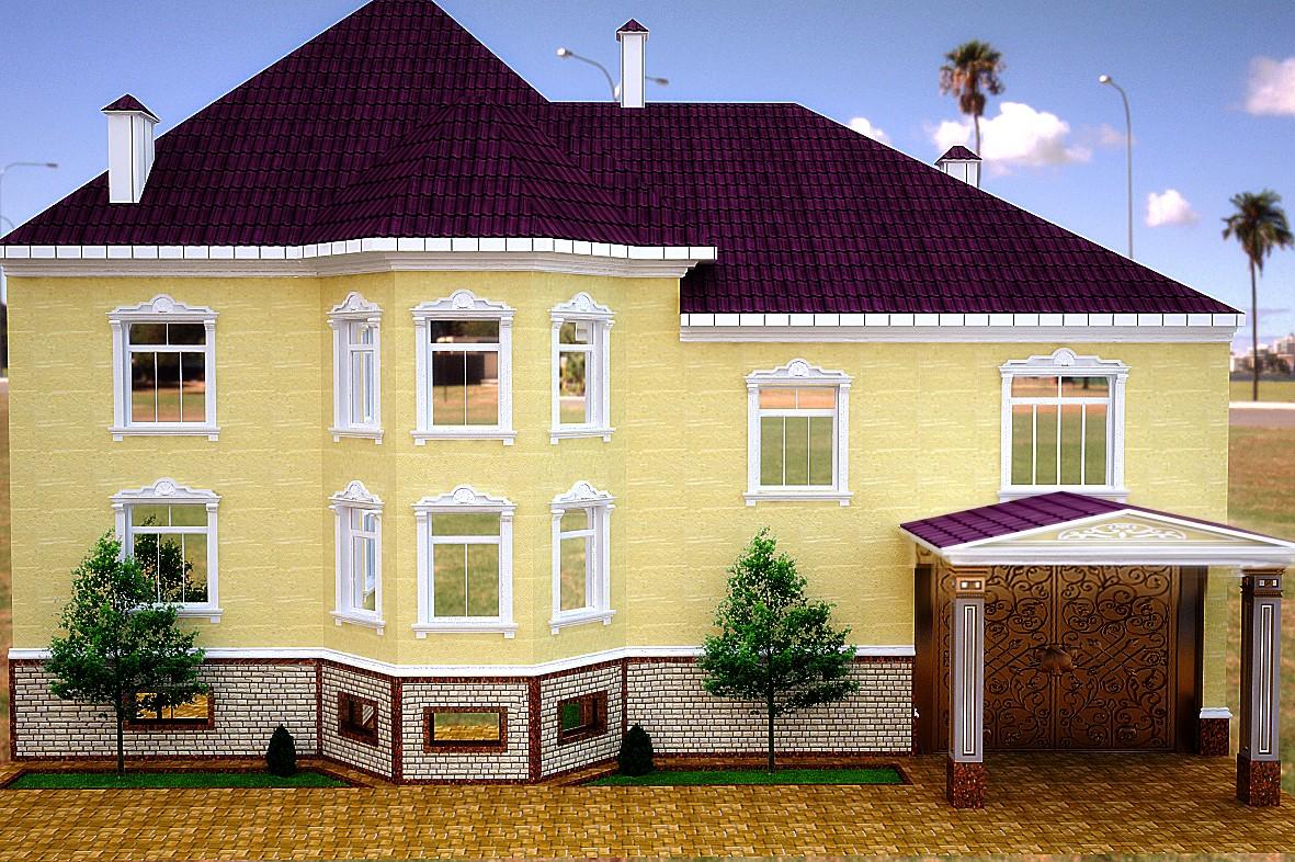 visualización 3D del proyecto en el Exterior 3d max render vray Nurullokhon