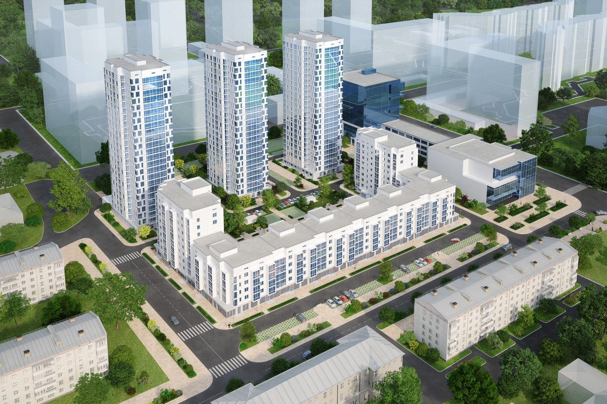 The residential complex, Khabarovsk in 3d max vray 3.0 image