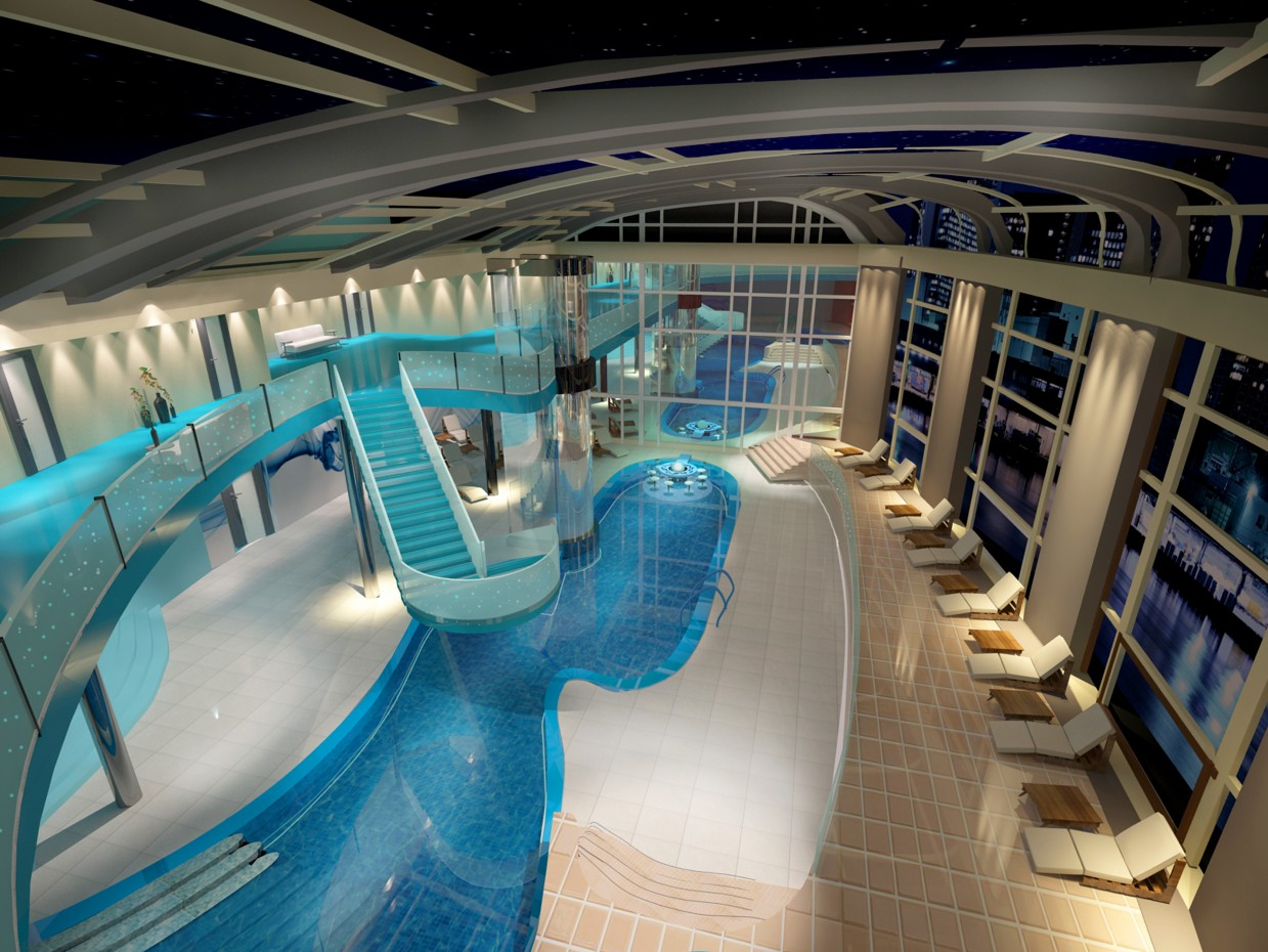 3d visualization of the project in the pool 3d max, render vray of irina 19922708