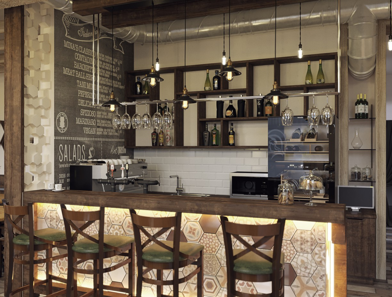 Визуализация небольшого кафе в 3d max corona render изображение