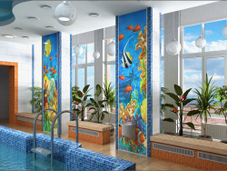 Interior design project for a children's pool in Chernihiv