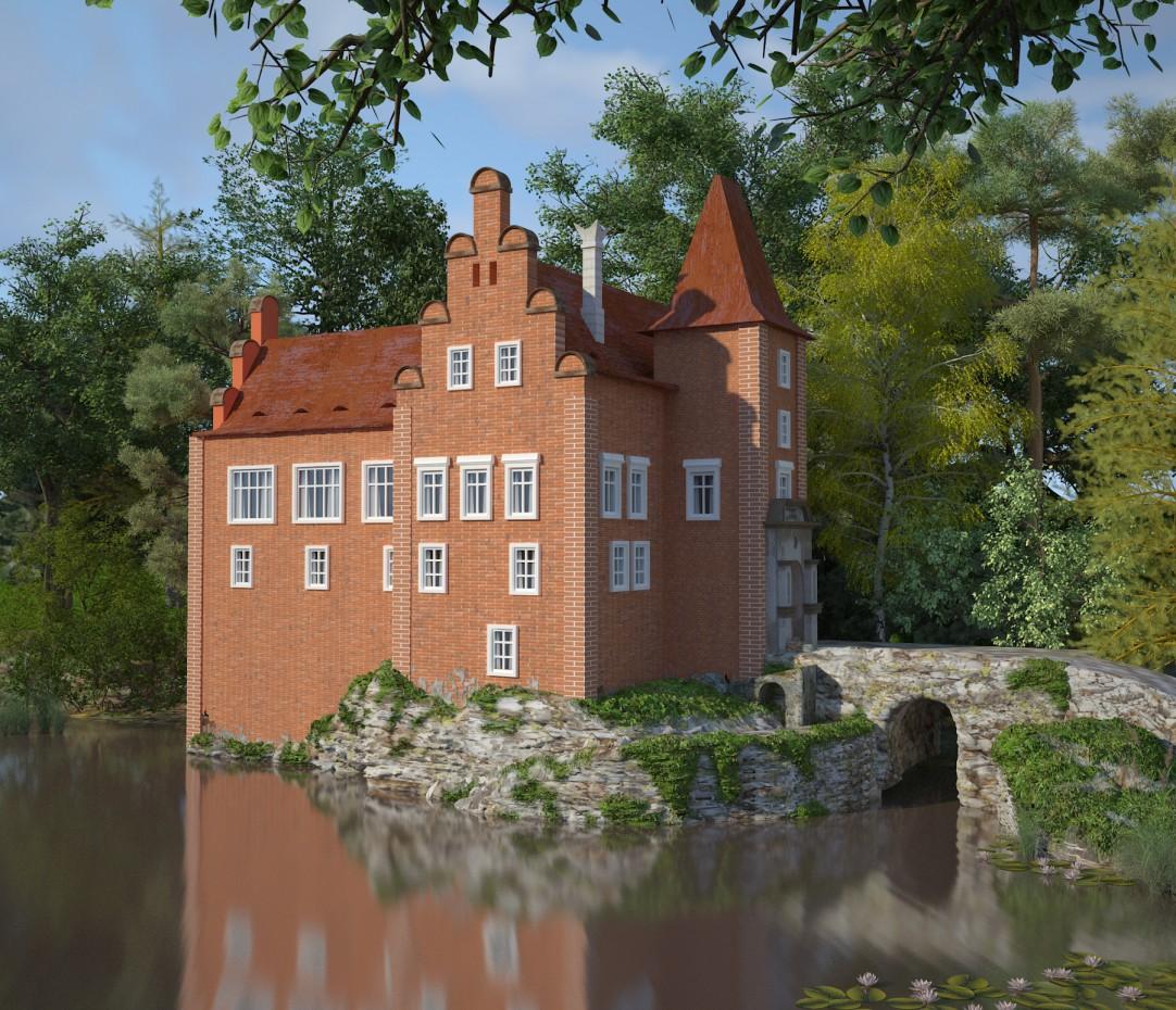 красный замок в 3d max vray изображение