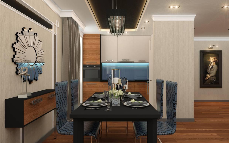 Вітальня, суміщена з кухнею в 3d max vray зображення