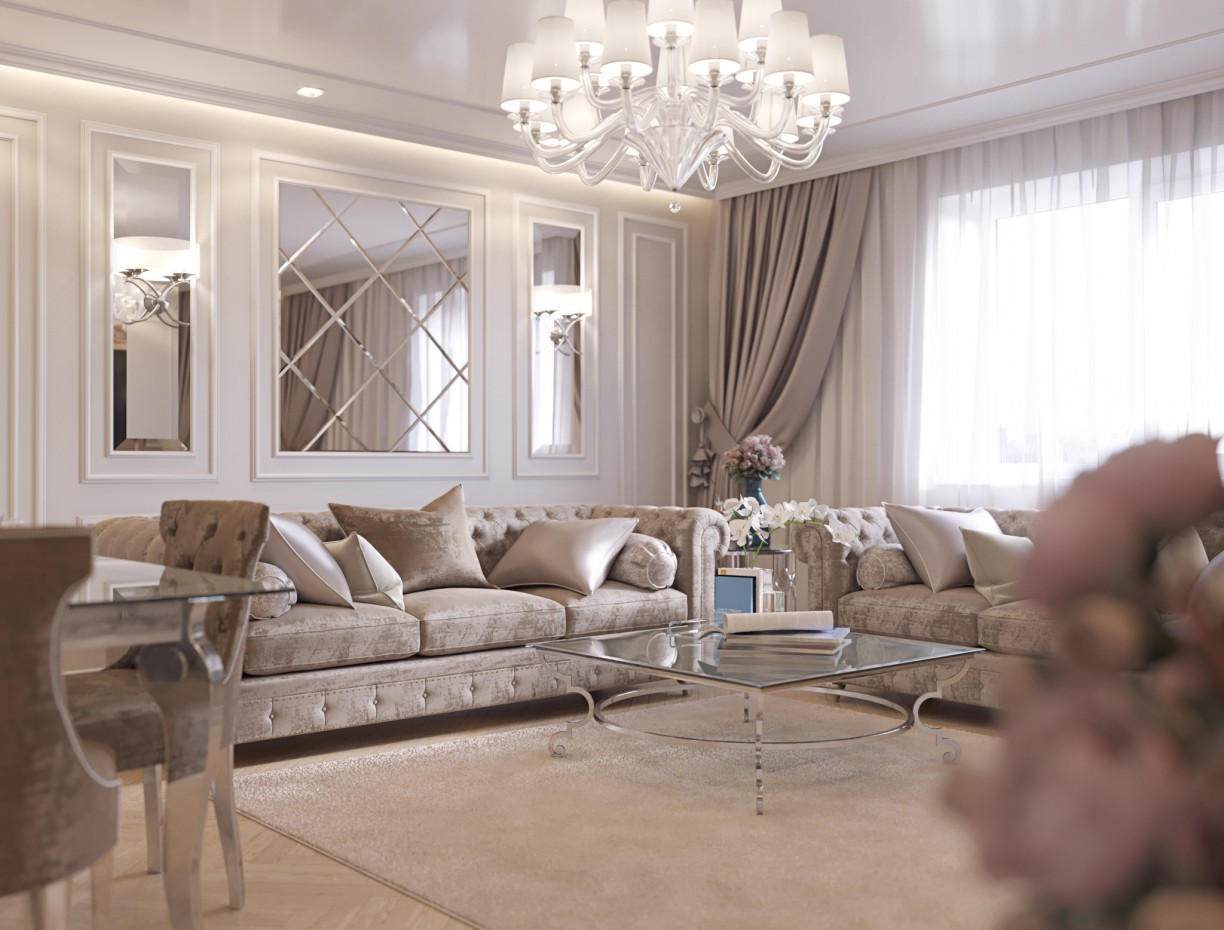 Visualization of living room in 3d max corona render image