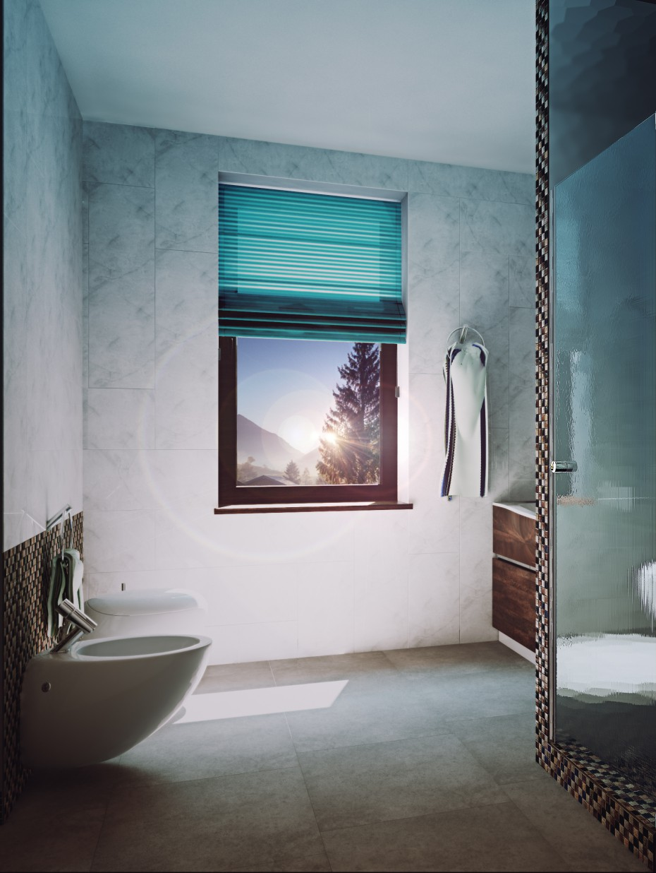 Sketch to a washroom in 3d max vray image
